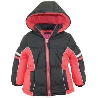 Pink Platinum Girls Colorblock Active Fleece Lined Winter Coat Puffer Jacket
