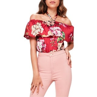 Missguided Womens Floral Off-Shoulder Bodysuit Knit Top