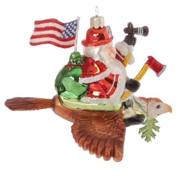 "6"" Patriotic American Fireman Firefighter Santa Claus Glass Christmas Ornament"