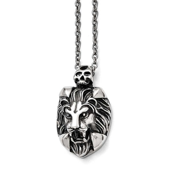 Chisel Stainless Steel Polished and Antiqued Lion and Skull Necklace - 22 in