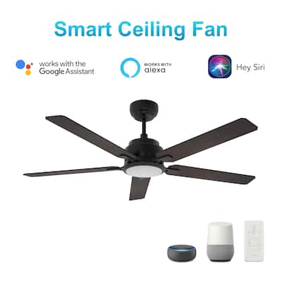 Joule 52-inch Indoor/Outdoor Smart Ceiling Fan, Dimmable LED Light Kit & Remote, Works with Alexa/Google Home/Siri.