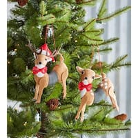 """Club Pack of 12 Red and Brown Decorative Slinky Deer Hanging Ornaments 5"""""""