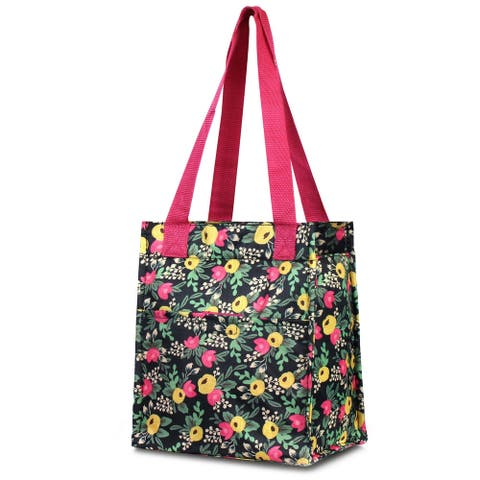 Zodaca Insulated Leak Resistant Lunch Tote Double Handles Carry Zip Closure Bag - Multifloral