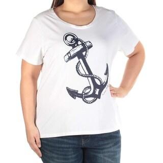 Womens White Anchor Short Sleeve Jewel Neck TShirt Top Size 1X