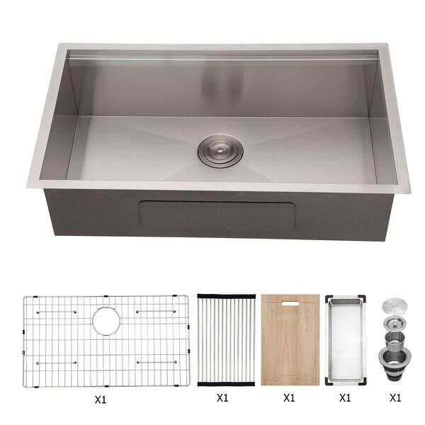 Kichae 32x19 Inch Single Bowl Undermount Workstation kitchen Sink 18 Gauge Zero Raduis. Opens flyout.