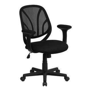 Offex Y-GO Chair Mid-Back Black Mesh Computer Task Chair with Arms [OF-GO-WY-05-A-GG]