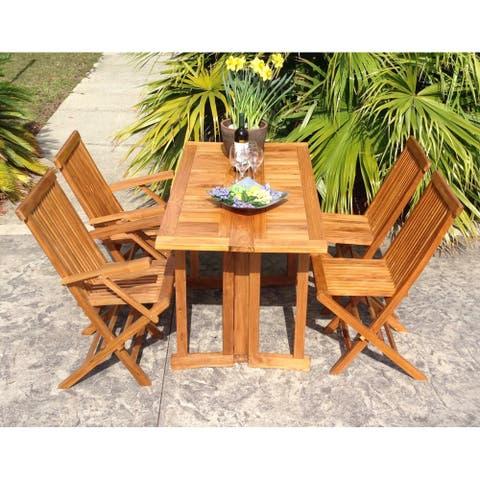 Chic Teak Hatteras Rectangular Teak Wood Outdoor Folding Dining Table, 56 x 28 Inch