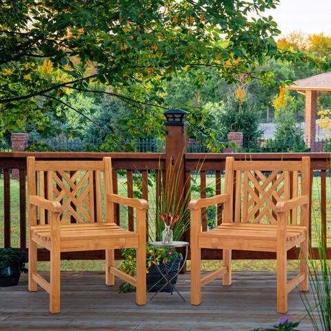 Chic Teak Chippendale Teak Wood Indoor/ Outdoor Dining Arm Chair