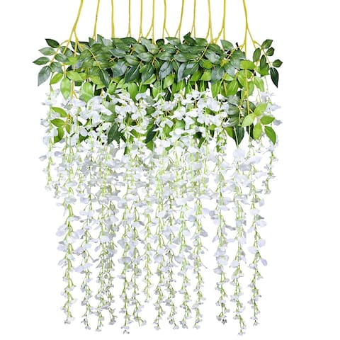 Silk Flowers String Home Party Wedding Decor (White)