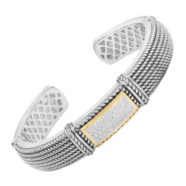 1/4 ct Diamond Roped Cuff Bracelet in Sterling Silver & 14K Gold
