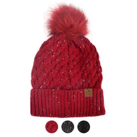 Women's Speckled Pom Pom Knit Winter Hat