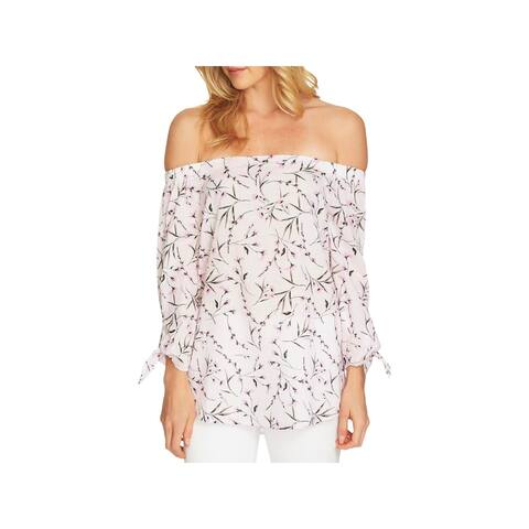CeCe Womens Frovence Blouse Off-The-Shoulder Floral Print