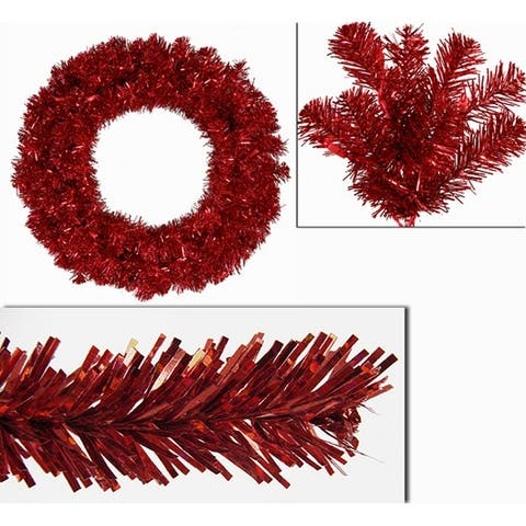 """24"""" Pre-Lit Sparkling Red Hot Artificial Tinsel Christmas Wreath - Red Lights"""