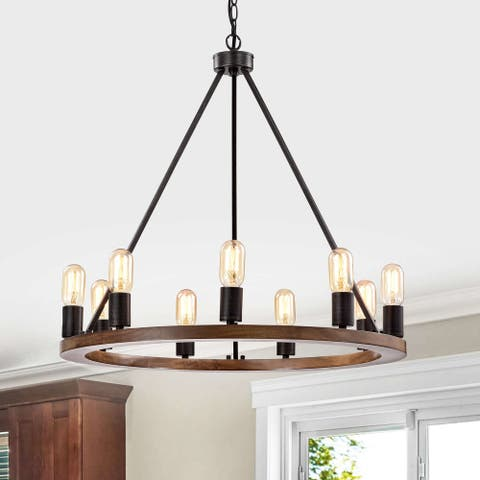 Viviana 9-Light Natural Wood and Antique Black Metal Round Chandelier