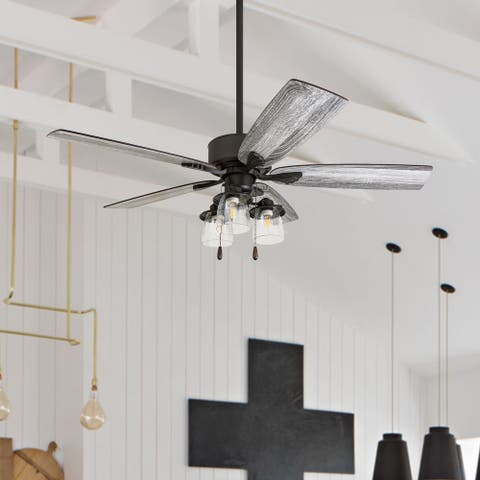 The Gray Barn Wentworth 52-inch Coastal Indoor LED Ceiling Fan with Remote Control 5 Reversible Blades - 52