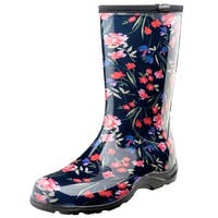 Sloggers Women's Waterproof Rain and Gardening Boots - Blue Floral Print