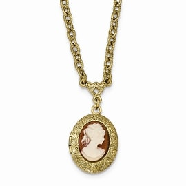 Goldtone Filigree Acrylic Cameo Locket Necklace - 16in