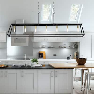 7 Light 55 in Linear Modern Farmhouse Rectangle Chandelier