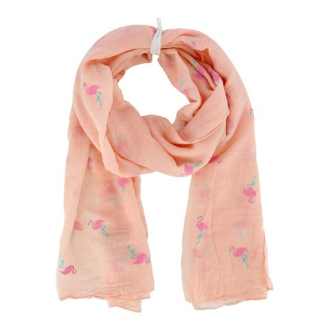 David & Young Women's Lightweight Flamingo Print Scarf - one size