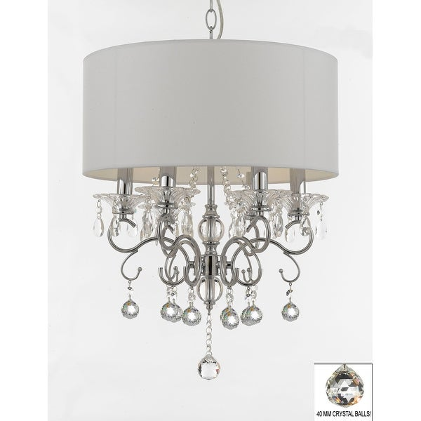 Silver Mist Crystal Drum Shade Chandelier Lighting With Faceted
