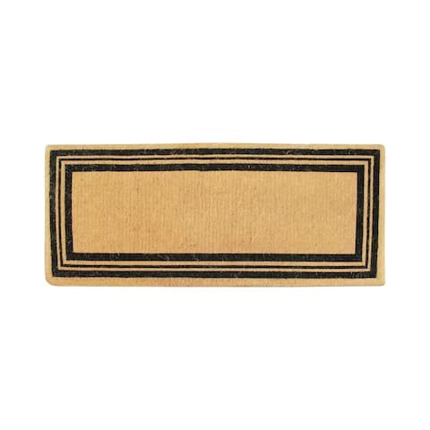 "A1HC Hand Crafted Coir Striped Entry Double Door Doormat Black/Beige - 24""X57"""