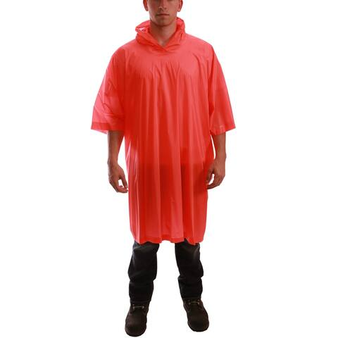"Tingley P68809 One-Size PVC Poncho with Attached Hood, Orange, 50"" x 80"""