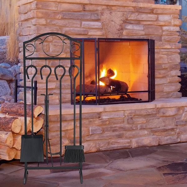 Shop Costway 5 Pieces Fireplace Tools Set 4 Tools Decor Holder