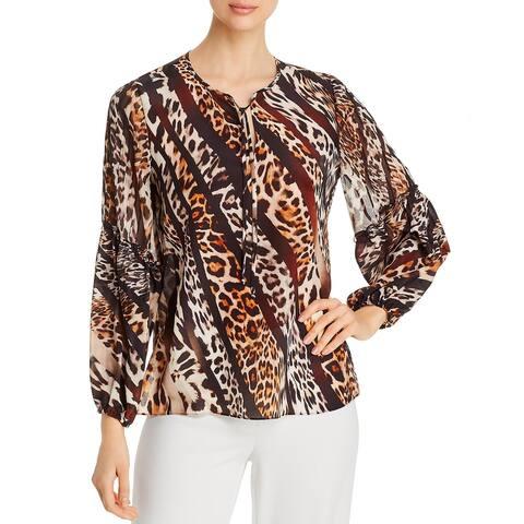 Kobi Halperin Womens Fallon Blouse Silk Leopard Print - Black Multi