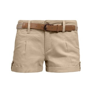 NE PEOPLE Womens Mid Rise Comfy Fitted Cuffed Hem Casual Shorts w/Belt (More options available)