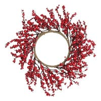"20"" Festive Red Berries Artificial Christmas Wreath – Unlit - brown"