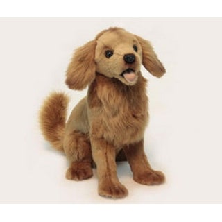 """13.25"""" Life-Like Handcrafted Extra Soft Plush Golden Retriever Puppy Dog Stuffed Animal - Brown"""