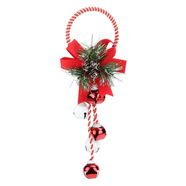 14 red and white striped christmas wreath and bells door hanger - Red Christmas Wreath