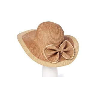 Women's Large Wide Brim Straw Beach SPF50 Hat With Bow
