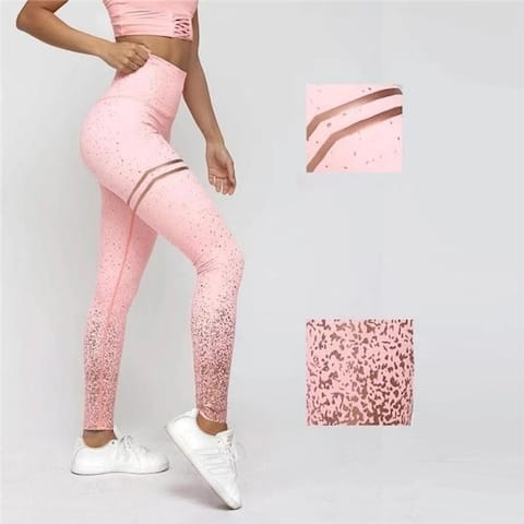 Stamping Yoga Pants Golden High Waist Sports Leggings For Fitness Women's Push Up Gym Tights Mallas Mujer Deportivas