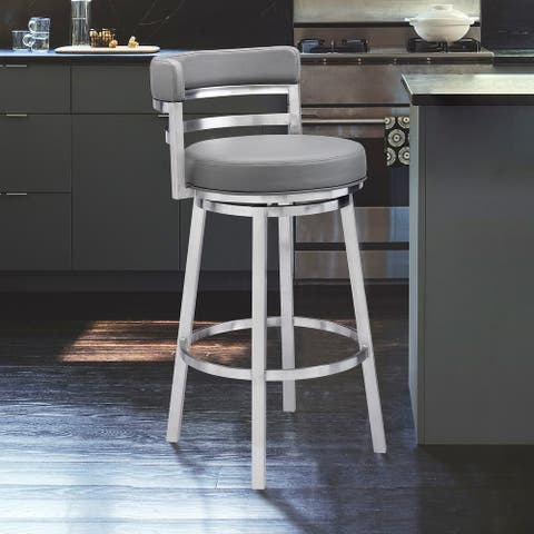 Madrid Contemporary Bar- or Counter-height Swivel Stool