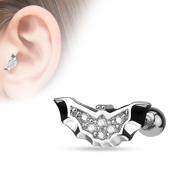 {Clear} CZ Paved Center Bat 316L Surgical Steel Cartilage/Tragus Bar (Sold Individually)