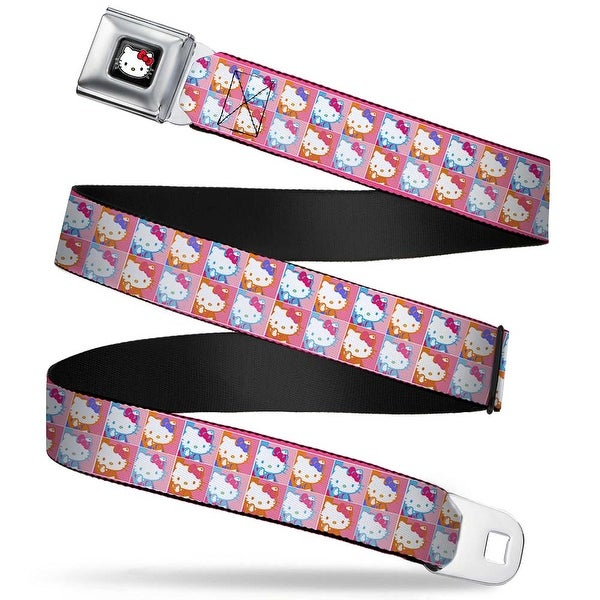 Hello Kitty W Red Bow Full Color Black Hello Kitty Blocks Pink Orange Blue Seatbelt Belt