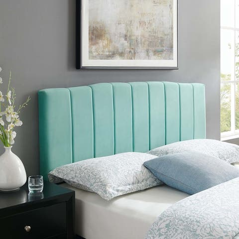 Camilla Channel Tufted Twin Performance Velvet Headboard