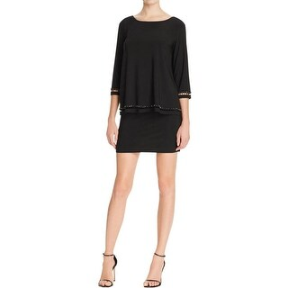 Laundry by Shelli Segal Womens Cocktail Dress Popover Beaded