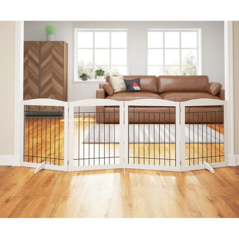 """PAWLAND 4Panels Extra Wide Dog gate for The Hous, Freestanding Foldable Wire Pet Gate, Pet Safety Fence, 30"""" Height,4Panels"""