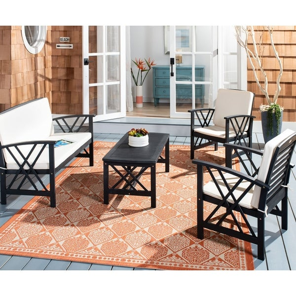 Shop Safavieh Outdoor Living Fontana 4 Pc Outdoor Set - On ... on Safavieh Outdoor Living Montez 4 Piece Set id=72896