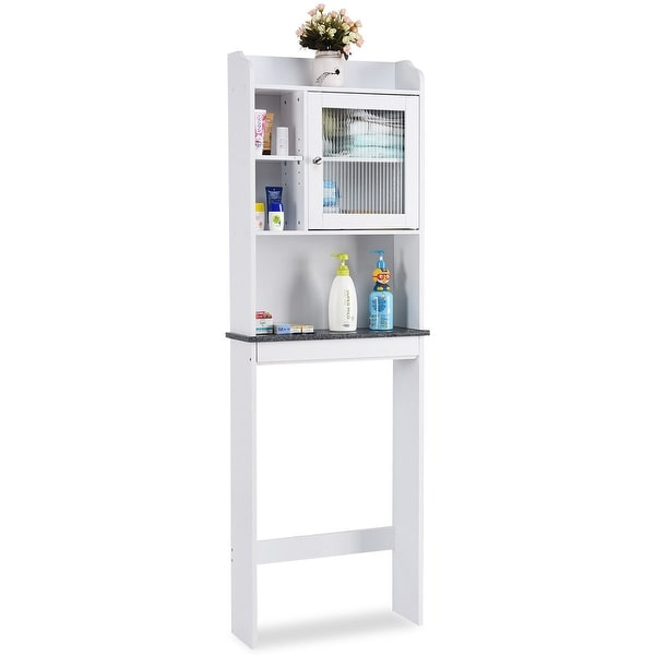 Shop Gymax Over-the-Toilet Bath Cabinet Bathroom Space Saver Storage Organizer White