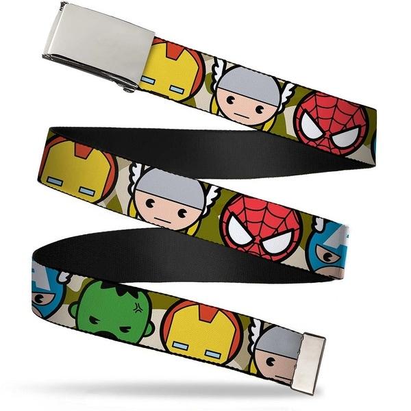 Marvel Universe Blank Chrome Buckle Kawaii Avengers Faces Close Up Web Belt