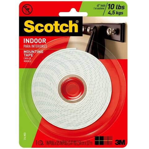 """Scotch 314/DC Heavy Duty Indoor Mounting Tape, 1"""" x 125"""", White"""