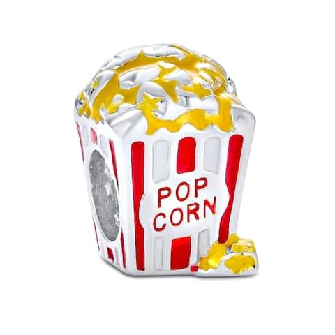 Movie Popcorn Bucket Food Multi Color Charm Bead 925 Sterling Silver - Multi-color