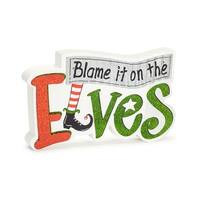 "Pack of 4 Orange and Green ""Blame it on the Elves"" Decorative Wall Signs 9"""