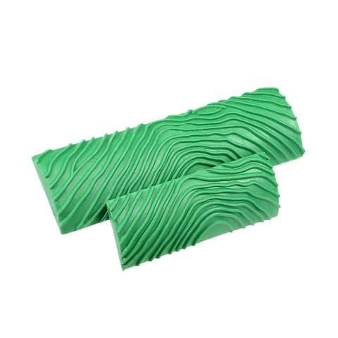"""Wood Grain Tool 5.4"""" 3.5"""" Rubber Square Graining Pattern Wall Decorate 1 Set - Green - MS7L-3.5+5"""" 2in1 Set"""