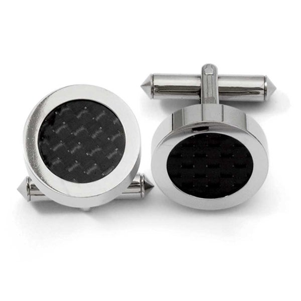 Chisel Titanium Black Carbon Fiber Cuff Links