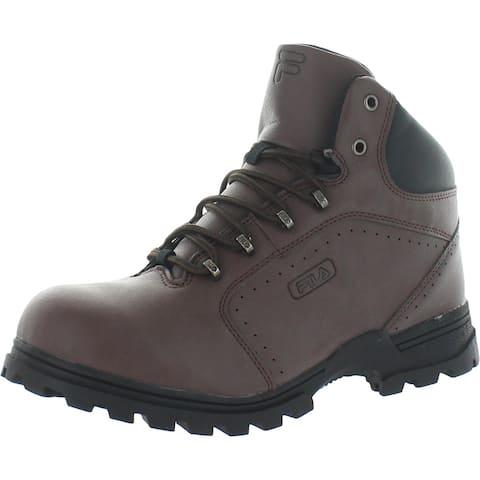 Fila Boys Ravine 3 Hiking Boots Faux Leather Ankle - Pinecone/Black/Dark Silver - 7 Medium (D) Big Kid