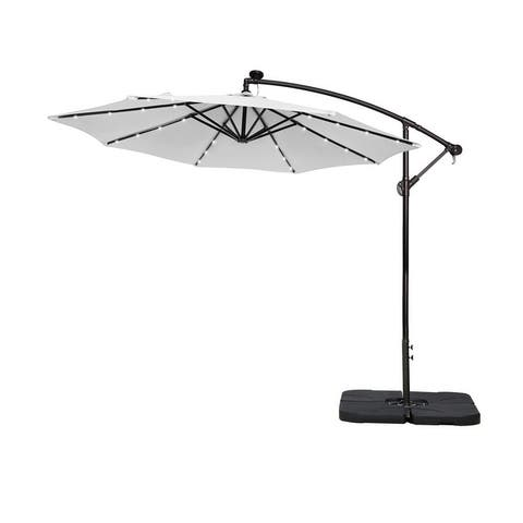 10 Ft. Solar Power Lighted Patio Umbrella with Base